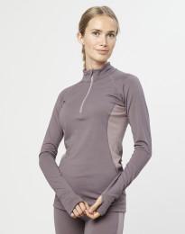 Damen Shirt mit Reißverschluss - exklusive Bio Merinowolle Lavendelgrau