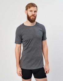 Herren T-Shirt - natürliche exklusive Merinowolle Dunkelgrau meliert