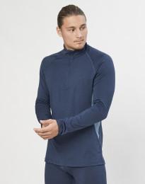 Langarmshirt mit Reißverschluss - exklusive Bio Merinowolle Graublau