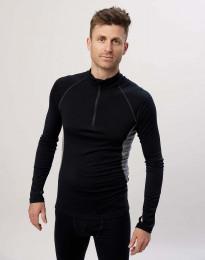 Langarmshirt mit Reißverschluss - exklusive Bio Merinowolle Schwarz