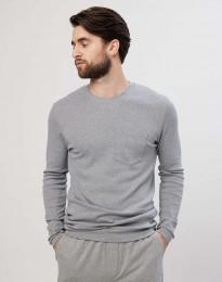 Langarm Shirt für Herren aus Baumwolle graumeliert