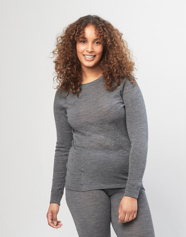 Damen Rollkragen Merino Top - Grau