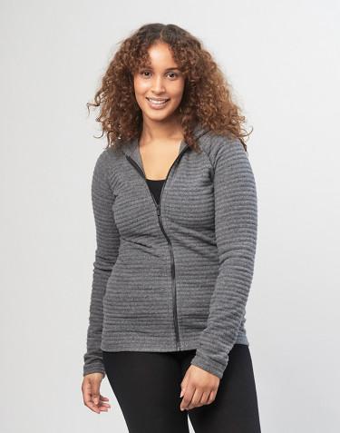 Hoodie aus gestreiftem Wollfleece für Damen grau meliert