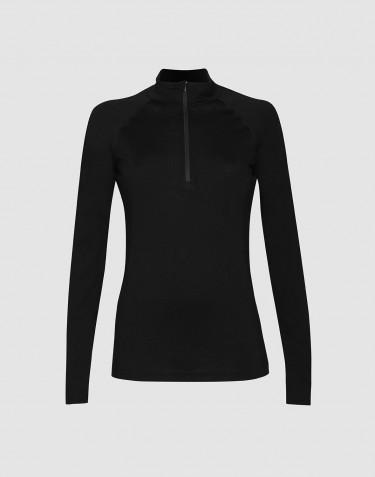 Damen Shirt mit Reissverschluss - exklusive Bio Merinowolle schwarz