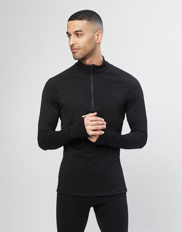 Langarmshirt mit Reissverschluss - exklusive bio Merinowolle schwarz