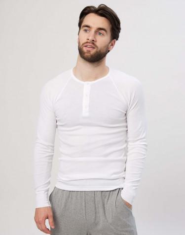 Premium classic - Baumwoll Langarmshirt für Herren weiß