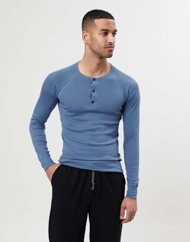 Premium Classic - Baumwoll Langarmshirt für Herren blau