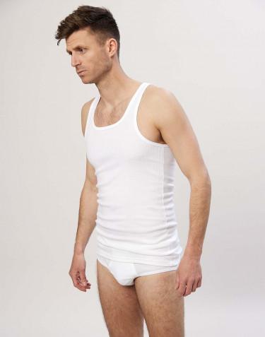 Rippunterhemd für Herren aus Baumwolle Weiß