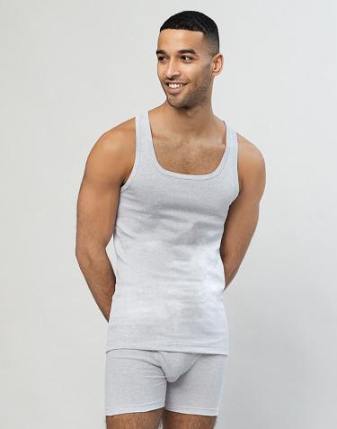 Rippunterhemd für Herren aus Baumwolle grau