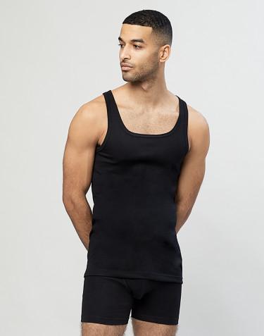 Rippunterhemd für Herren aus Baumwolle Schwarz