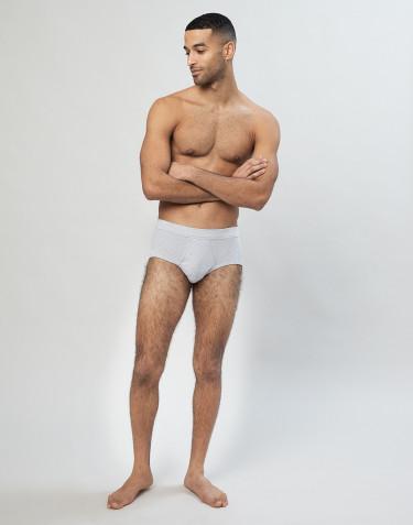 Klassischer gerippter Baumwoll Slip für Herren in grau