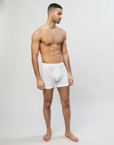 Boxershorts aus Baumwolle in Rippstrick mit eingriff Weiß