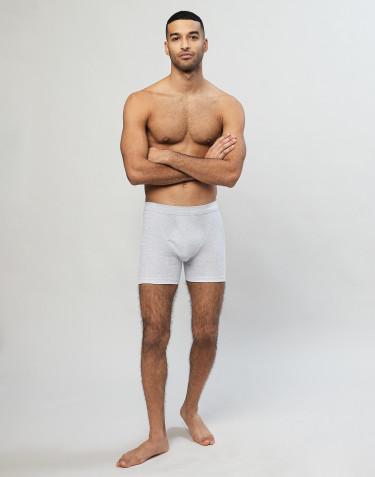 Boxershorts aus Baumwolle in Rippstrick mit eingriff grau
