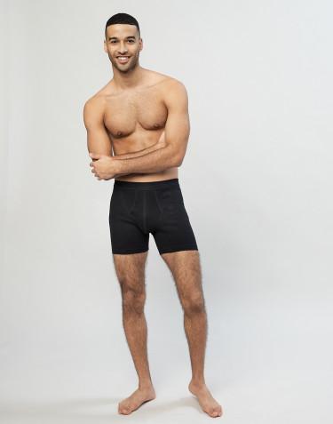 Boxershorts aus Baumwolle in Rippstrick mit eingriff Schwarz