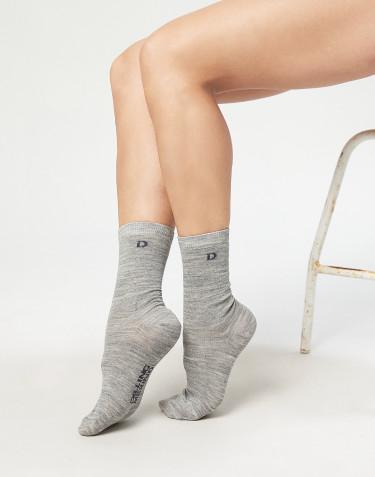 Damen Socken - natürliche Merinowolle grau melange