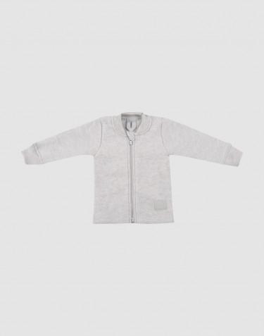 Baby Jacke aus Merino Wollfleece hellgrau