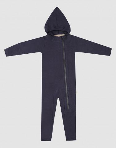 Baby Anzug aus Merino Wollfleece mit Kapuze Blau
