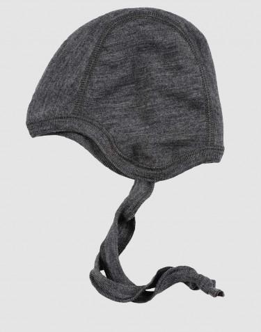 Baby Mütze - Bio Merinowolle dunkelgrau meliert