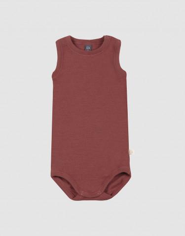 Merino Body für Babys ohne Ärmel Rouge