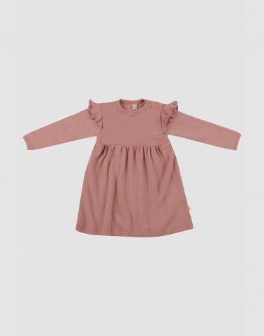 Baby Wollkleid mit Rüschen Dunkelrosa
