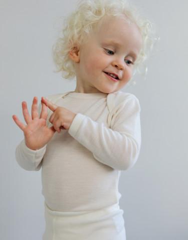 Baby Body langarm - Bio Merinowolle natur
