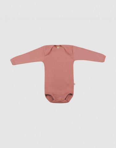 Merino Body mit langen Ärmeln Dunkelrosa