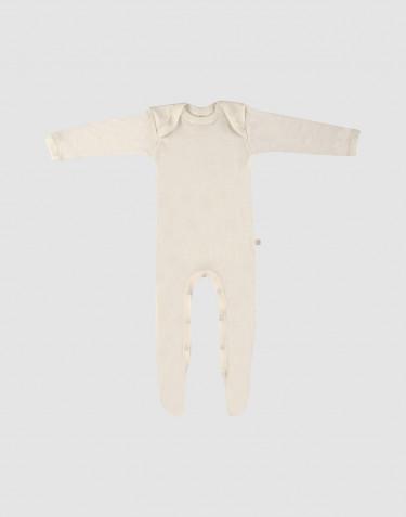 Merino Baby Strampler mit Füssen natur