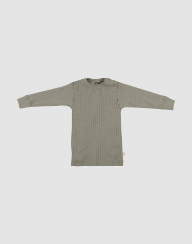 Merino Shirt in breitem Rippstrick olivgrün