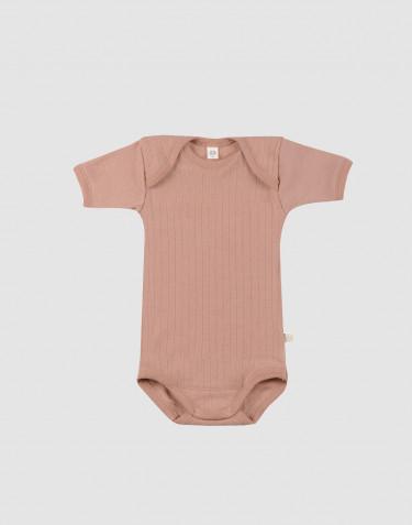 Kurzarm Body für Babys - Merinowolle Puder