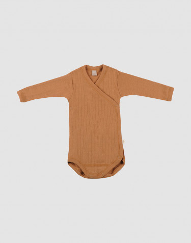 Baby Wickelbody in Rippstrick aus Wolle Karamell