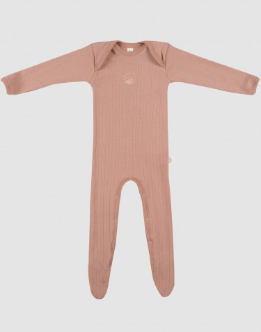 Merino Overall mit Füßen für Babys Puder