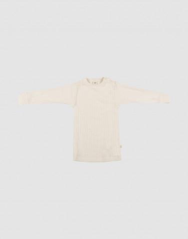 Merino Shirt in breitem Ripp für Babys Natur