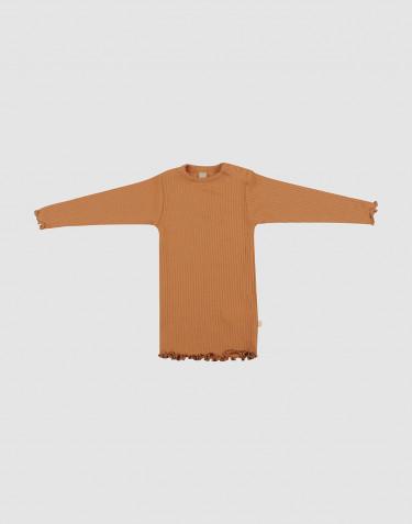 Merino Hemdchen mit gewellten Kanten für Babys Karamell