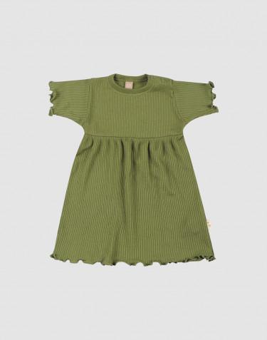 Baby Kleid mit gekräuseltem Rand aus Merinowolle