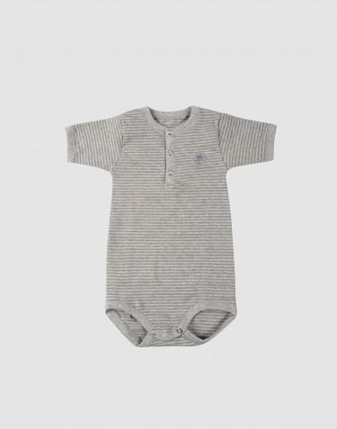 Kurzarm Baumwoll Body für Babys grau gestreift