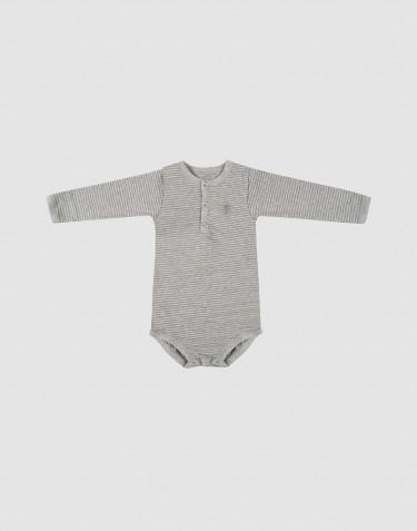Baumwoll Body für Babys langarm grau gestreift