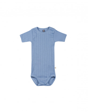 Kurzarm Baby Body aus natürlicher Baumwolle blau