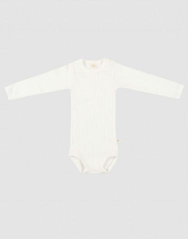 Langarm Baby Body aus natürlicher Baumwolle weiß