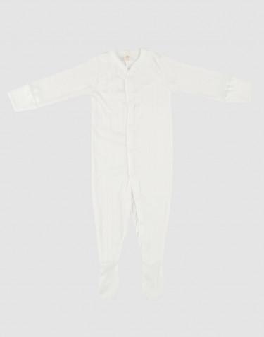 Langarm Body mit Füßlingen aus Baumwolle weiß