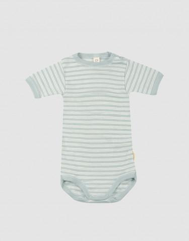 Kurzärmliger Baby Body aus Bio Wolle-Seide pastellgrün/ natur