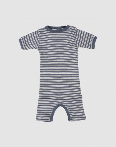 Sommeranzug für Babys aus Bio Wolle-Seide blau meliert/ natur