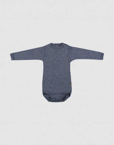 Baby Langarmbody aus Bio Wolle-Seide blau meliert