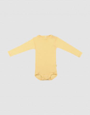 Babybody mit langen Ärmeln aus Bio Wolle und Seide Hellgelb