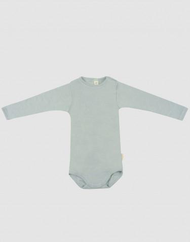 Baby Langarmbody aus Bio Wolle-Seide pastellgrün