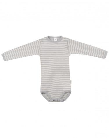 Baby Body mit langen Ärmeln aus Wolle-Seide grau/natur