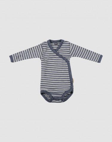 Wickelbody für Babys aus Bio Wolle-Seide blau meliert/natur