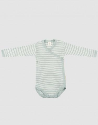 Wickelbody für Babys aus Bio Wolle-Seide pastellgrün/ natur