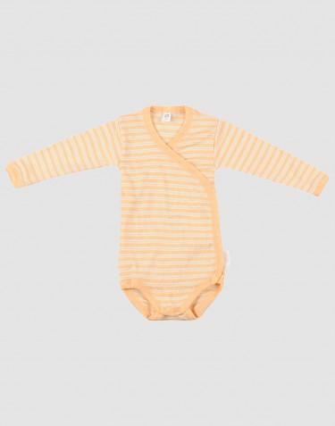 Wickelbody für Babys aus weicher Wolle-Seide aprikot/natur