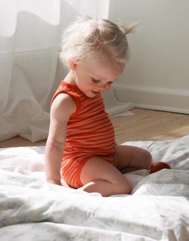Ärmelloser Body aus Merinowolle/ Seide für Babys