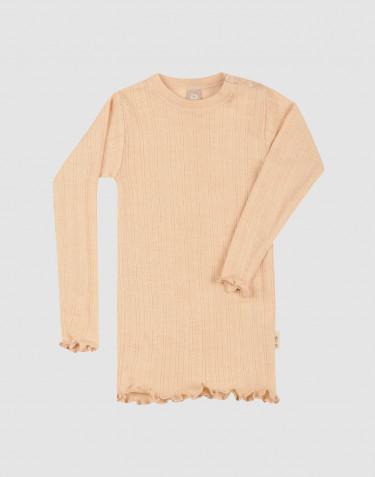 Baby Langarmshirt aus Wolle/Seide mit dezenter Rippe und Pointellemuster